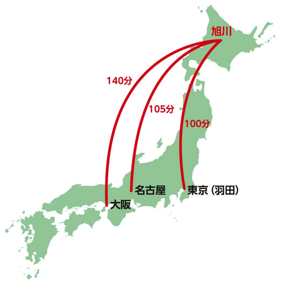 飛行機での交通手段の地図