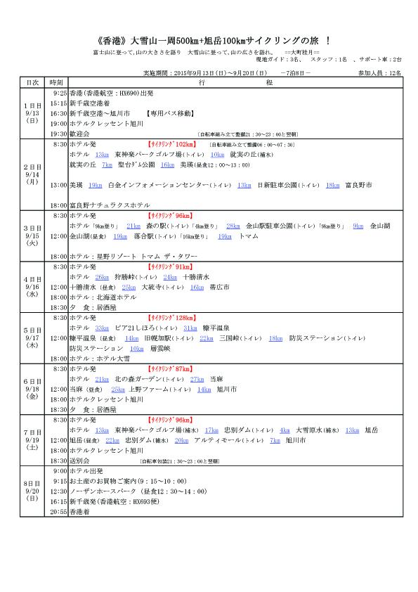 香港 大雪山サイクリング行程表