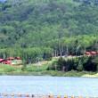ダム湖面とキャンプ場①